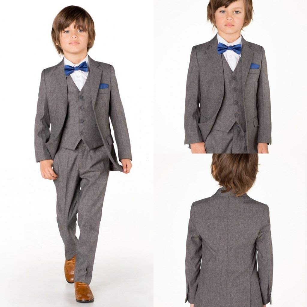 Boys 3 Piece Classic Fit No Tail Formal Grey Dress Suit Set for Party