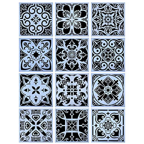 YUEAON 12-Pack (12x12Inch) Painting Stencils for Floor Wall Tile Fabric Furniture Wood Burning Art&Craft Supplies Mandala Template-reuseable