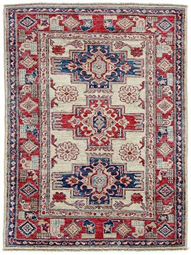 CarpetFine: Kazak Teppich 83x115 Blau,Rot - Handgeknüpft - Ornament