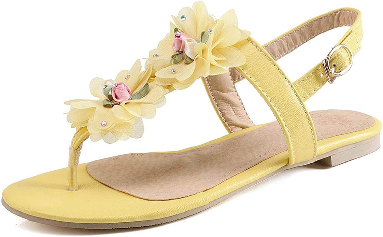Summer Women Sandals Female Flower Buckle shoes Sandals Women's Flat Sandals shoes Women shoes Bohemia Flat shoes Yellow