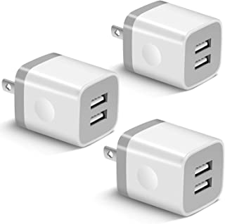 USB Wall Charger, BEST4ONE 3-Pack 2.1A/5V Dual Port USB Plug Power Adapter Charging Block Cube Compatible with iPhone 11 /Pro Max, XR/XS/X 8/7/6 Plus, Samsung, Moto, Kindle, Android Phone -White