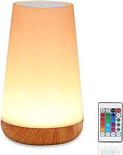 Lámpara mesita de noche infantil LED con mando distancia control táctil regulable, USB, recargable, lámpara de noche, color que cambia RGB, 13 colores para dormitorio, camping