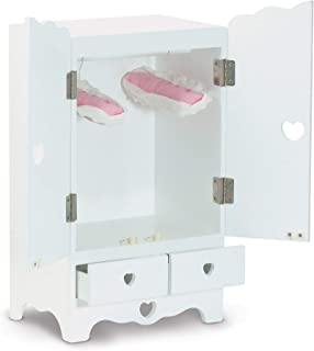 Melissa & Doug White Wooden Doll Armoire Closet With 2 Hangers, 12