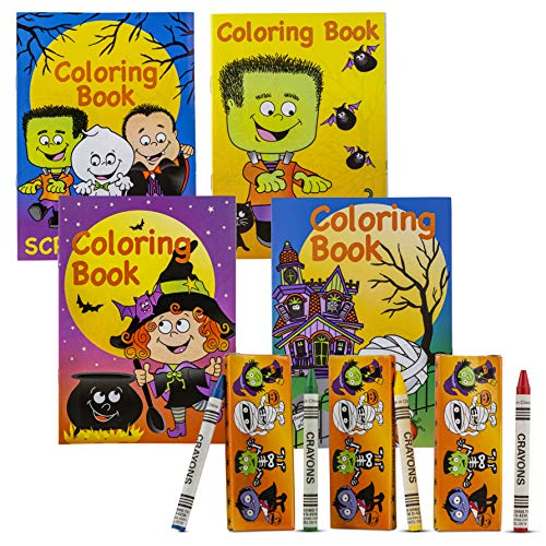 """Halloween Coloring Books and Crayons Party Favors - 24-Piece Party Favor Bag Fillers Set with 12 Pieces 7"""" Coloring Books and 12 Packs of Crayons for Halloween Treats, Goody Bags, and Game Prizes"""