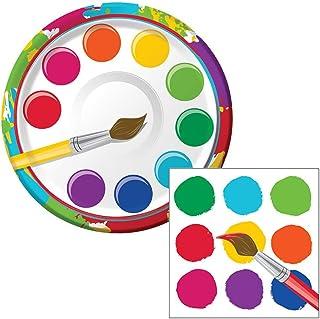 Painters Palette Art Party Dessert Plates & Napkins Party Kit for 8