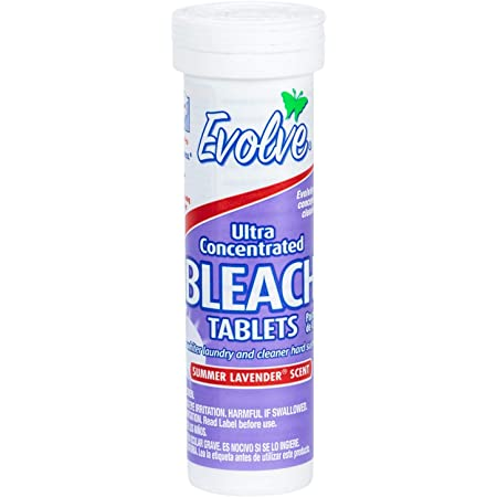 Evolve Bleach Tablets, 8ct Tube, Summer Lavender Scent, Travel Size,