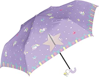 折りたたみ傘 子供 キッズ 手開き 軽量 親骨50cm 開閉らくらく 指をはさまない 女の子 ユニコーン ki-087
