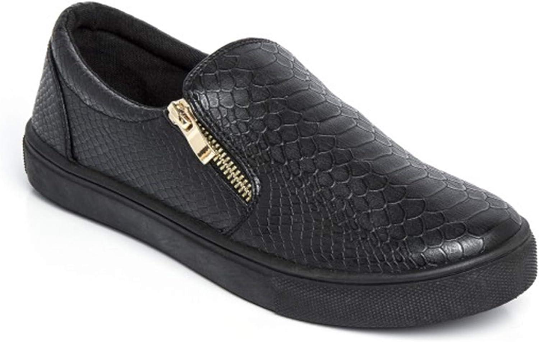 Womens Ladies Flat Slip On Faux Croc