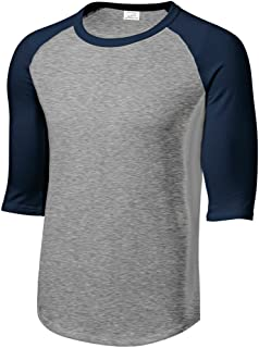 Mens 3/4 Sleeve 100% Cotton Baseball Tee Shirt,5XL HeathGrey/Navy