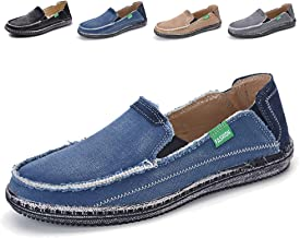JAMON Mens Canvas Shoes Slip on Deck Shoes Boat Shoe Breathable Non Slip Casual Loafer Flat Outdoor Sneakers Walking