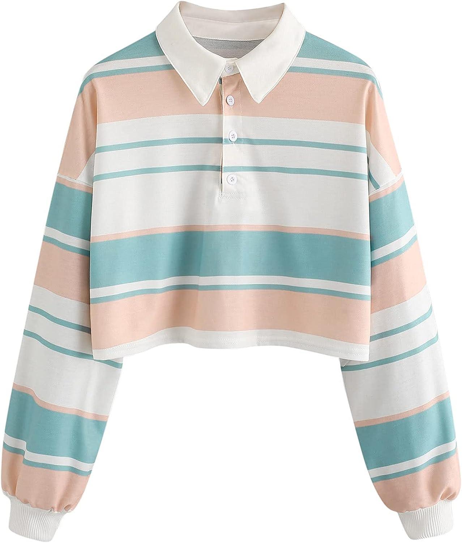 Lousioa Women's Stripe Year-end annual account Button Sweatshirt H Max 88% OFF Turn-Down Sleeve Long