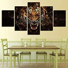 Ssckll Canvas Paintings Modular Home Decor Hd Prints 5 Pieces Roaring Tiger Pictures Abstract Animal Poster Living Room Wall Art-Frameless
