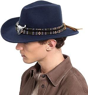 Unisex Western Cowboy Hat Outdoor Cattleman Hat Brim Fedora Hat with Braided Belt Bull Skull