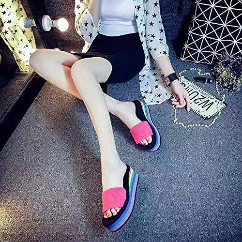 chanclas mujer baratas,Zapatillas de arena de la torta de corte gruesa de la moda de la moda, el verano usa la nueva palabra arrastre, los zapatos de playa antideslizantes del hogar, las sandalias de