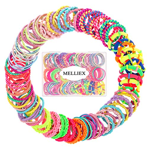 MELLIEX 100 Pezzi Elastici per Capelli Bambine, Multicolori Mini Supporti per Coda di Cavallo Elastici Capelli Legami per Bambini, 10 Stile