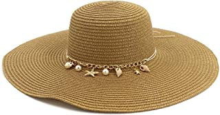Summer hat Women's Chaff Hat Seaside Holiday Sun Hat Big Sunscreen Sunshade Beach Hat Fashion Graceful hat (Color : Coffee, Size : 56-58CM)