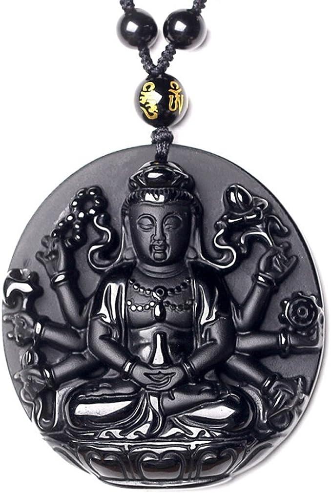 c1lint7785631 Superb Pure Natural Obsidian Guanyin Kwan-yin Bodhisattva Buddha Statue Necklace Pendant Men or Women