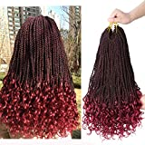 Goddess Senegalese Twist Crochet Braids Hair With Curly Ends Box Braids Crochet Hair 18 Inch 6 Packs 30 Strands/Pack Synthetic Hair Extensions(1B/99J)