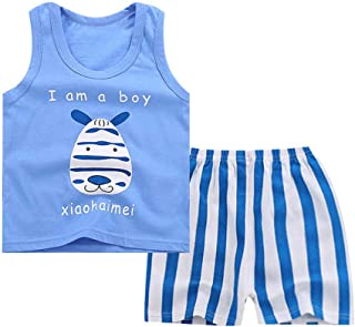 Digood Baby Boy Girl Kids Sleeveless Cartoon Tracksuit Sport Suit Vest Pants Clothing