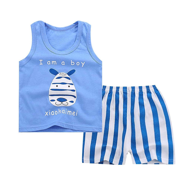 Womola Fashion Baby Boy Outfits Summer Cartoon Sleeveless Vest Top Shorts 2pcs Clothes Set(6M-4Y)