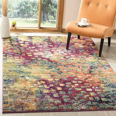 Safavieh Monaco Collection Modern Abstract Watercolor Pink and Multi Area Rug (5'1  x 7'7 )