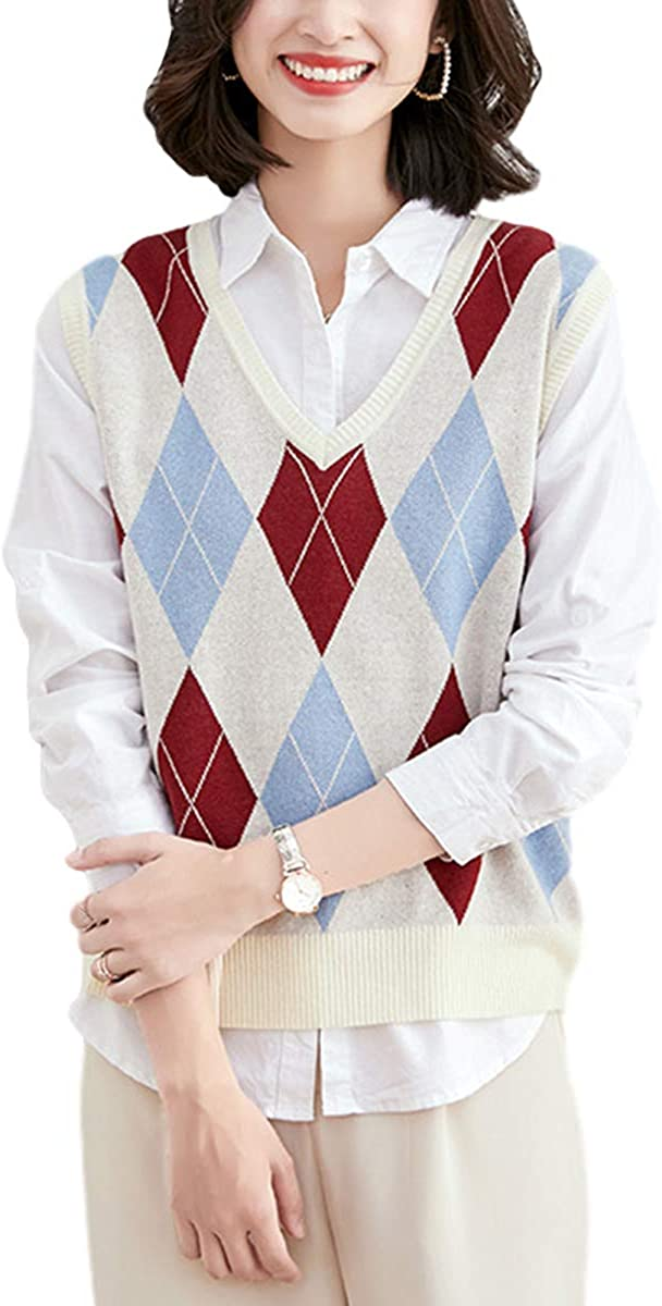 Gihuo Women's V Neck Argyle Pattern Knitted Pullover Sweater Vest