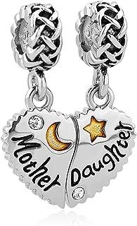 Mom Mother Daughter Heart Love Dangle Charm Beads for Snake Chain Bracelet
