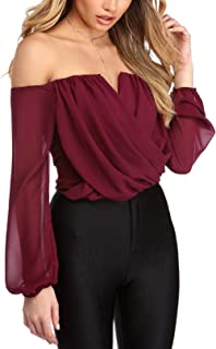 YOINS Women Tops Cold Shoulder Blouse Shirts Long Bell Sleeves Patchwork Design Fashion Knits Tee Tops