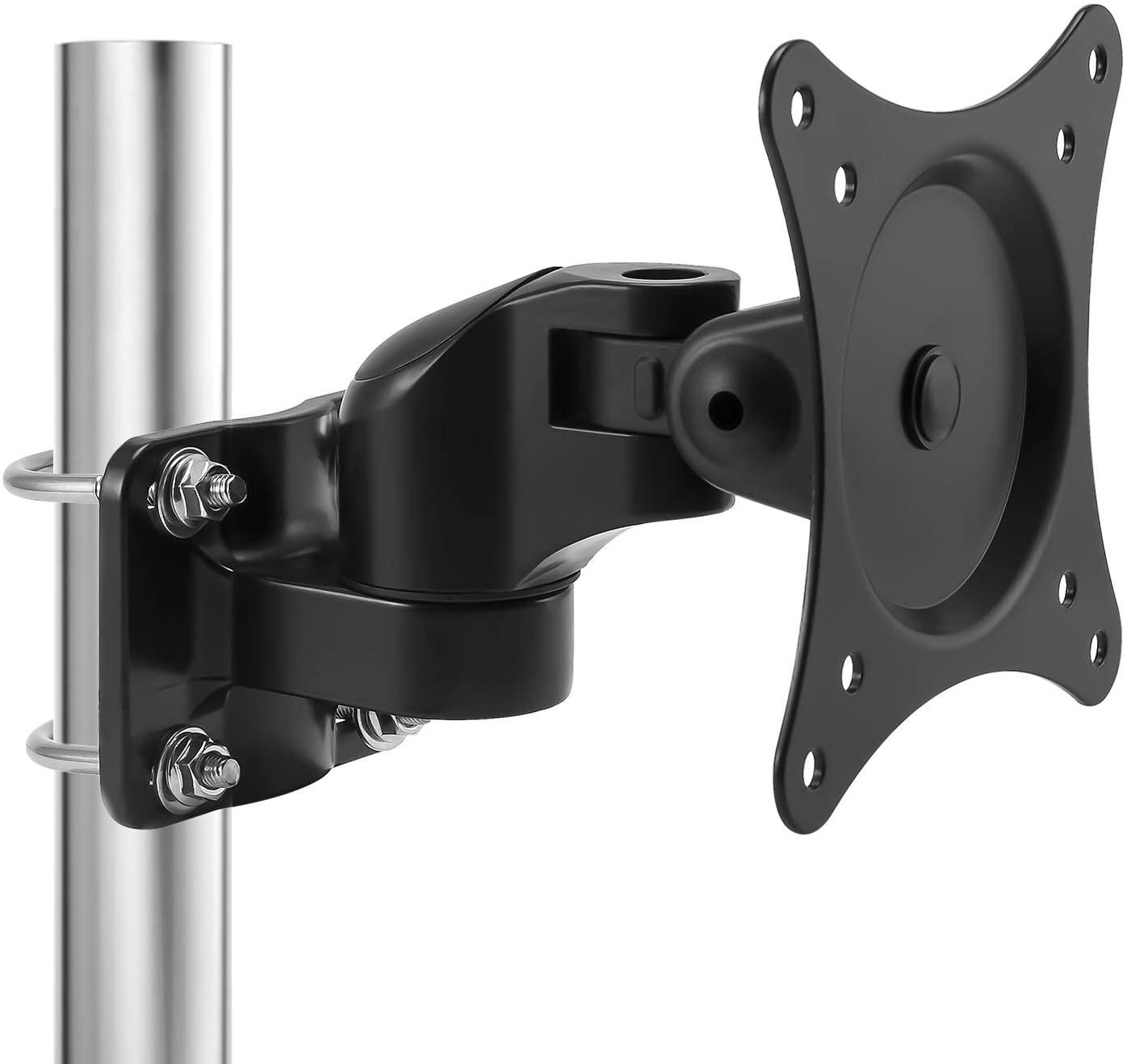 Loutytuo Universal Monitor Pole Mount Bracket Without Punching Fully Adjustable Stand for Diameter Pole Mount with VESA 75/100, Fits Screen up to 27 inch