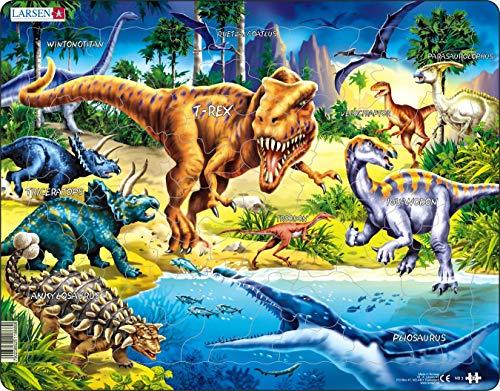 Larsen NB3 Dinosaurier aus der Kreidezeit, Neutral Ausgabe, Rahmenpuzzle mit 57 Teilen