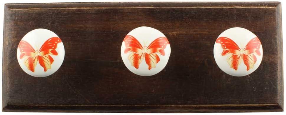 IndianShelf 4 Piece Max 78% OFF Handmade Japan Maker New Red Coat Wooden Hook Wall Butterfly
