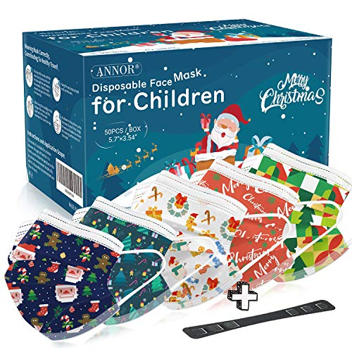Childrens Face Mask for Christmas, Christmas Disposable Face Masks for Kids, Child Disposable Christmas Face Mask, 5 Pattern Xmas Masks (Pack of 50)