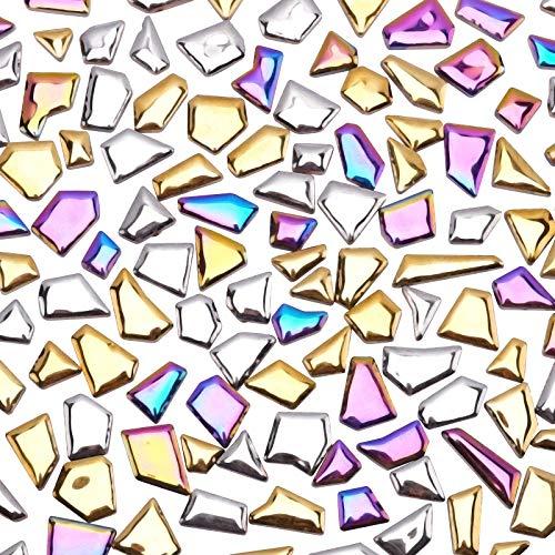 PandaHall 0,2 kg Nuggets azulejos de mosaico de cerámica piezas oro plata cabujones de mosaico para manualidades, platos, marcos de fotos, macetas, pintura de mosaico