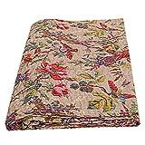 Indische Bohemain Bedding Kantha Vintage Ethno Baumwolle Vogel Kantha Quilt Tagesdecke Patchwork Stich Decke Queen Size Kantha Quilt (Beige)