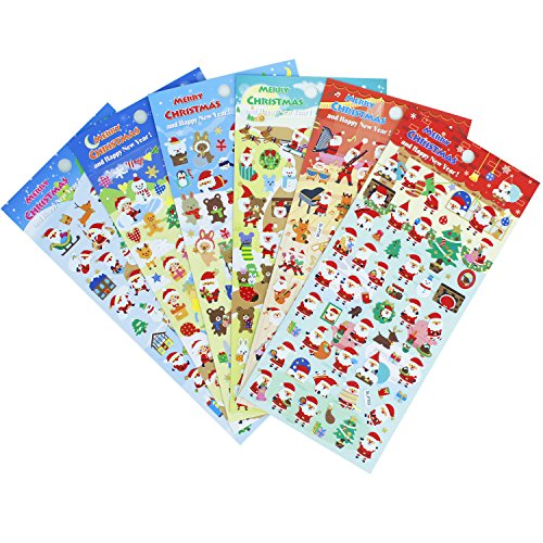 HighMount Christmas Stickers 6 Sheets with Snowman, Reindeer, Tree, Bear, Santa Claus Happy Faces Xmas Kids Stickers Decals for Toys Gifts Scarpbooking Crafts Decorations - 300 Stickers