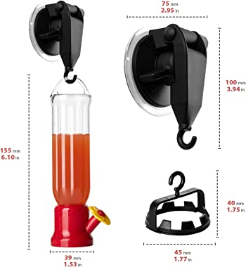 ORIENTOOLS Hummingbird Feeder with 2 Window Mount Suction Cup Accessories & 1 Connector, 2-Pack Mini Hanging Flower Bird