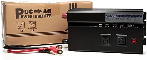 discount Digital Display Power Inverter wholesale 2000W 12V DC to 110V AC Car Truck Automotive Converter outlet online sale with 4 USB Ports & 2 Outlets outlet online sale