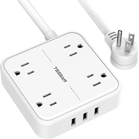 Flat Plug Power Strip with 9.8 FT Extension Cord TESSAN 4 Widely Spaced Outlets 3 USB Ports Charger 1250W//10A Long Cord for Indoor Wall Mountable Compact Size Charging Station