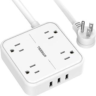 TESSAN Regleta de Alimentación, extension electrica de 1.5 m con 4 CA y 3 USB, power strip, multicontacto pared con enchuf...