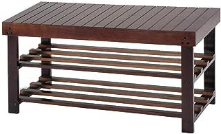 TimmyHouse Racks Solid Wood Shoe Bench Storage Seat Organizer Entryway Hallway Espresso 36