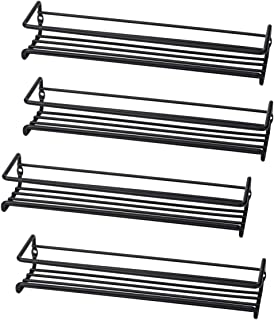 Set of 4 Wall-Mount Spice Rack Organizers � Metal Hanging Racks for Cabinet Door or Pantry Door- Over Stove, Kitchen Cupboard Or Under Cabinet � by Unum