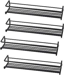 Set of 4 Wall-Mount Spice Rack Organizers – Metal Hanging Racks for Cabinet Door or Pantry Door- Over Stove, Kitchen Cupboard Or Under Cabinet – by Unum