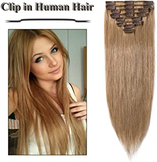 Clip in Hair Extensions Strawberry Blonde 14-24 inch Remy Human Hair for Women 8pcs 18 Clips Full Head Soft Straight Hair(16