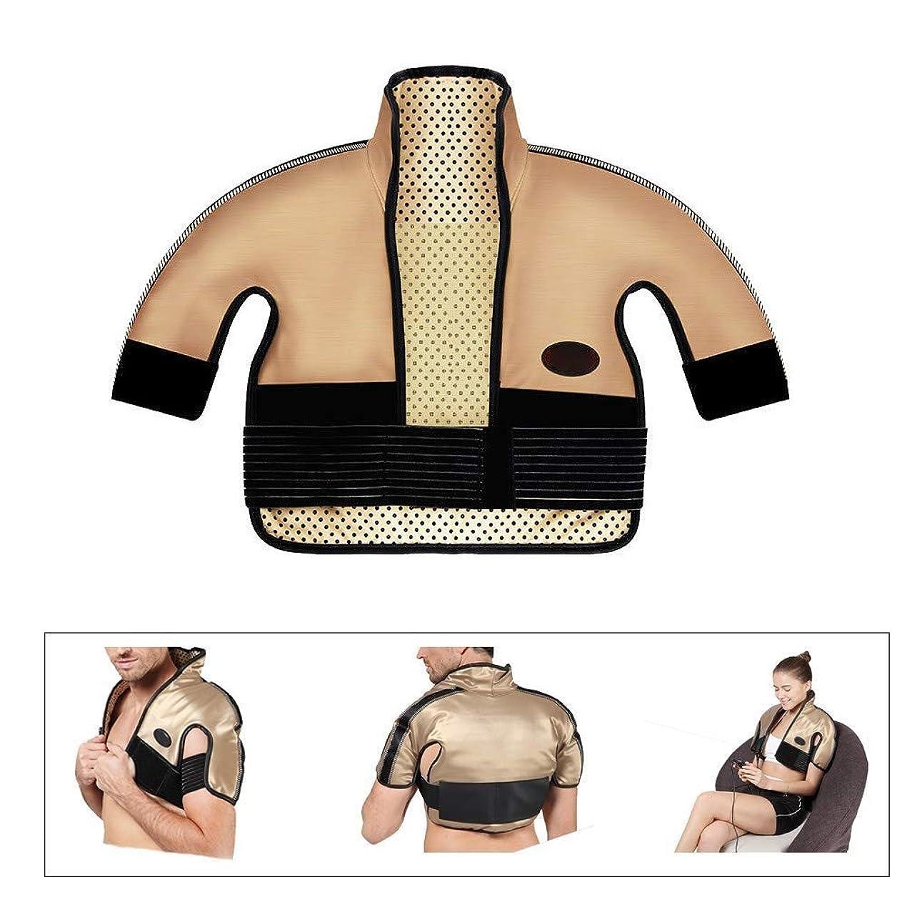 カップル図書館家具肩と首の電気加熱パッド - 混練加熱、痛み緩和加熱パッドを叩く、医療用品マッサージベスト(肩幅用:40-65CM)