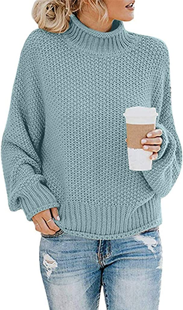 Franterd Women's Turtleneck Sweaters Casual Batwing Sleeve Loose Oversized Chunky Knitted Pullover Sweater Jumper Tops