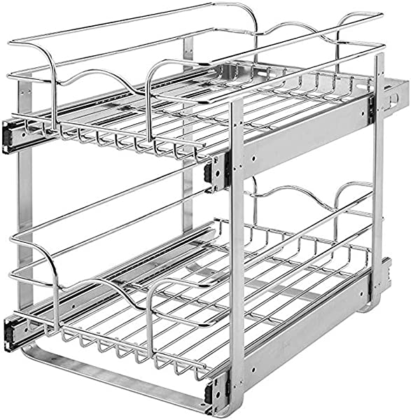 Rev A Shelf 15 Wide 22 Deep Base Kitchen Cabinet 2 Tier Pull Out Wire Basket