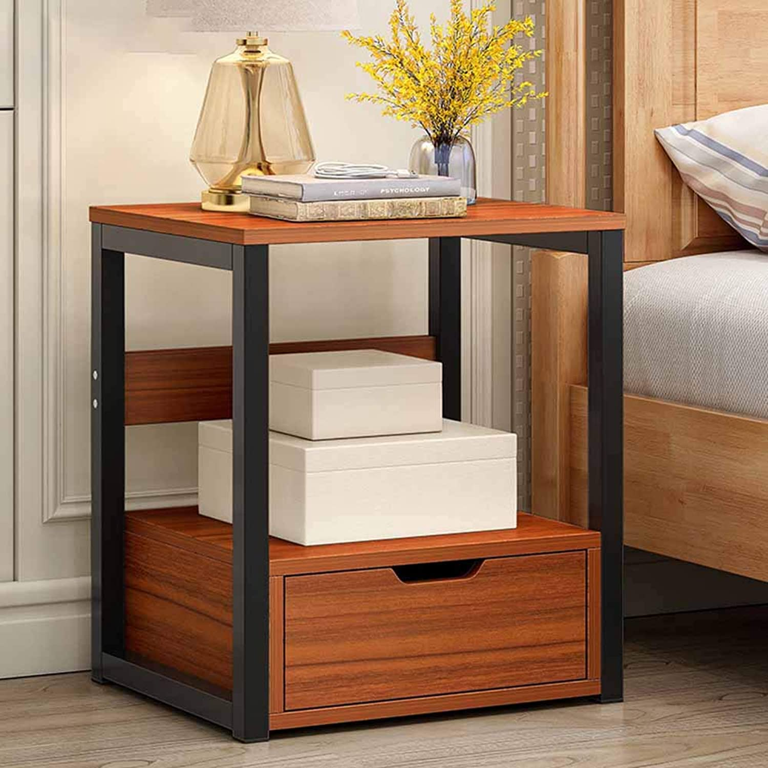 Coffee Table Bedside Cabinets, Simple Small Cabinet Invisible Handle, Single Drawer Multi-Functional Storage, Student Dormitory Bedroom Bedside 2 Colours (color   Wood color)