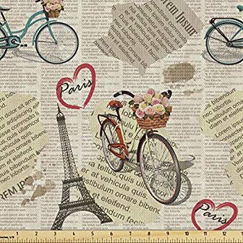 Ambesonne Romantic Fabric by The Yard Newspaper Vintage Retro with Paris Lettering in Hearts Art Print Decorative Fabric for Upholstery and Home Accents 1 Yard Beige Black