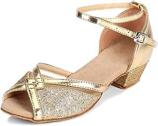 848fdda96886a SXSHUN Chaussure de Danse Latine Paillettes pour Fille Enfant Sandale à  Talon Princesse