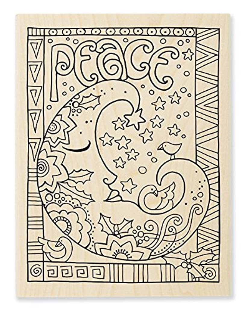 STAMPENDOUS LBR010 Wood Stamp Peace Moon